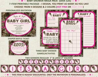 Pink Hunting Camo Baby Girl Shower Invitation Package - Mega Pack - 7 Item Package - Diaper Raffle Banner - Digital Printable