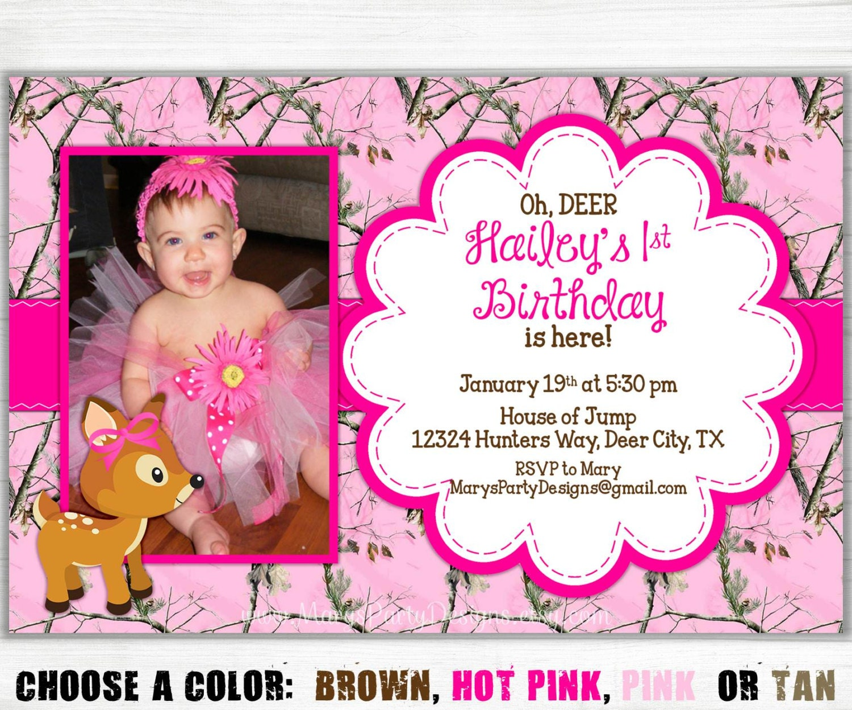 Pink Camo Birthday Invitation Girl Oh Deer By