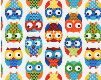 Bright Owl by Alice Kennedy White1 yard cut, Timeless Treasures - Owl Fabric