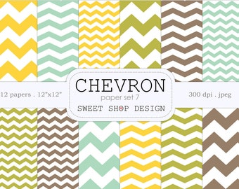 Digital Paper, Printable Scrapbook Paper Pack, 12x12, Chevron N07, Set of 12 Papers