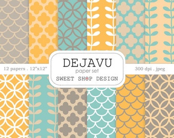 Digital Paper: DEJAVU, Printable Scrapbook Paper Pack, 12x12, Set of 12 Papers, Brown, Teal Blue, Peach, Yellow Mustard