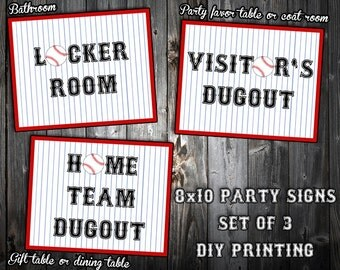 INSTANT DOWNLOAD - Baseball Themed Birthday Party Signs - Black or Blue Font - Home Team Dugout, Visitor's Dugout, Locker Room - DIY Print