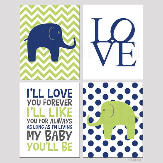 Navy Blue And Green Wall Decor : Items similar to navy blue lime green nursery wall art