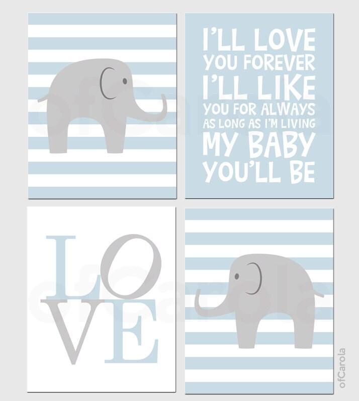Boys nursery elephant wall art print set four prints by for Room decor printables
