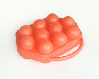 Vintage Egg Basket, Soviet Egg Carrying Case, Orange Egg Container for 10 Eggs, Eggs Holder, Kitchen Decor