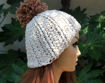 Hand Knit, 100 Percent Organic Cotton, Soft, Nubby, Cream, Rib Knit, Beanie, Hat with Large, Shaggy, Brown, Pom Pom, for Women or Men