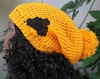 Hand Knit, Golden Yellow, Acrylic, Over Sized, Slouchy, Beanie Hat with Large, Shaggy Pom Pom and Black, Lace,  Flower, Applique Woman