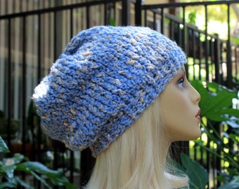 Hand Knit, Light Blue, Cream, Acrylic/Polyester/Cotton, Slouchy, Beanie Hat with Two Inch Headband Woman Man Fall Winter Back to School