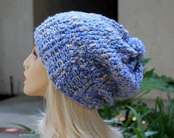 Hand Knit, Light, Sky Blue, Cream Flecks, Acrylic/Polyester/Cotton, Slouchy, Over Sized, Beanie Hat Small Pom Pom Four Inch Headband