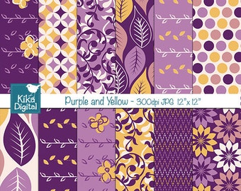 Purple and Yellow Digital Papers - Scrapbooking, card design, invitations, background, paper crafts, web design - INSTANT DOWNLOAD