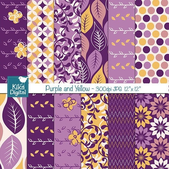 Purple And Yellow Digital Papers Scrapbooking Card