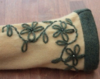 Melon and olive green cashmere fingerless gloves