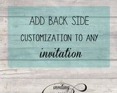 Add back side customization to any of my invitations - Printable file