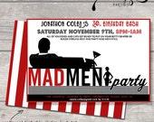 Vintage Coed Shower Madmen Retro Themed Party invite christmas holiday party Milestone Birthday 21, 30, 50, 60