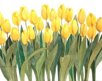 Yellow Tulips 10x15 Original Watercolor by Wanda Zuchowski-Schick