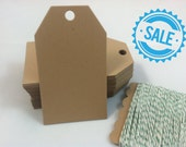 Kraft Paper Hang Tags, Kraft Tags, Place Cards, Escort Cards, Table Tags, Packaging Tags, Favor Tags, 100 Count