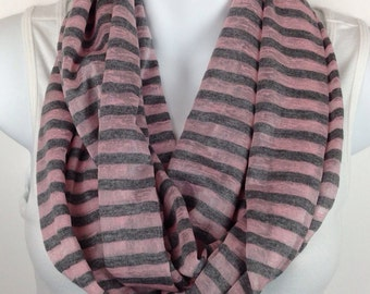Gray and pink striped infinity scarf