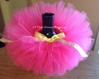 HOT PINK and Gold Tutu, Fuchsia Pink and Gold Tutu, Birthday Tutu, 1st Birthday Tutu, Newborn Photo Prop, Newborn Tutu, First Birthday Tutu