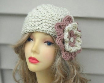 Crochet Beanie Crochet Womens Hat with Flower Womens Accessories Winter Girls Hat Crochet Accessories