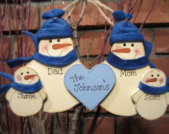 Family of 4: Personalized Fleece Snowman Ornament