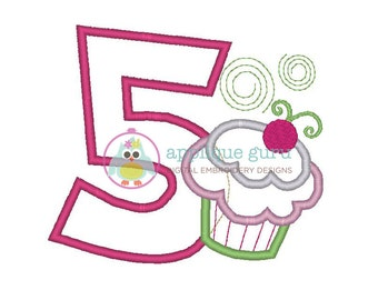 Cupcake Party Five-- Birthday Applique Machine Embroidery Design