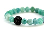 Frosted Aqua Green Agate Bracelet with Black Crystal Pave Accent Bead