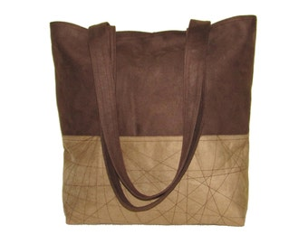 77- bag, purse, brown and beige, large, handmade, tote