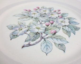 Warwick China Gray Blossom Dinner Plates / Set of Two / Pattern 9903
