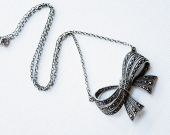 Vintage Ribbon Bow Sterling Silver Necklace with Marcasites
