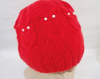 Women Owl Hat, Cable Benie Hat, Women Hat in red, Owl hat in Red, Handmade Hat