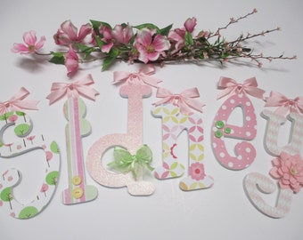 SIDNEY - 12.00 PER LETTER Gilrl name, boy name, wooden letters, whimsical font, light pink, lime green, yellow, owls, buttons, bows, flowers
