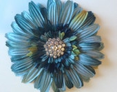Blue Flower Hair Clip with Crystal Button Center - Special Occasion, Party Wear
