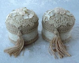 Jewel Boxes Ecru Moire Antique Lace Valentine Gifts