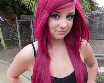 Romantic / Dark Auburn Red / Long Straight Layered Wig