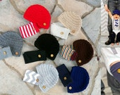 NEW Baby Boy Button Leg Warmers with Newsboy Crocheted Hat, Button Leggings, Brimmed Hat, Baby Shower, Boys 1st Birthday