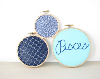 """Embroidery Hoop Wall Art Home Decor Set - """"Pisces"""" zodiac horoscope navy blue turquoise aqua fish scale mermaid March birthday water sign"""