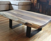 Salvaged live edge coffee table black walnut modern design metal legs