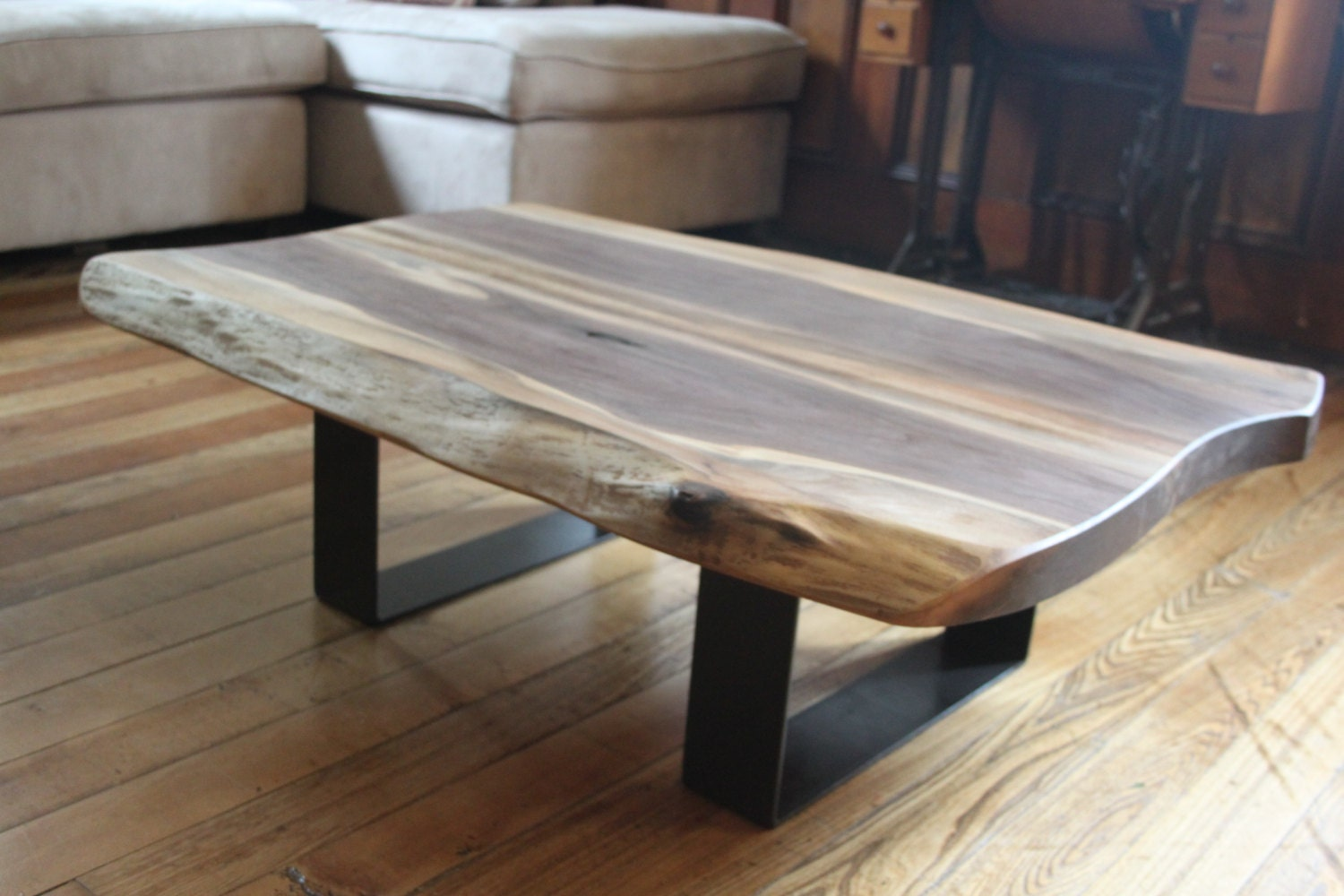 Salvaged Live Edge Coffee Table Black Walnut Modern Design