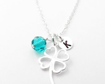 Personalized Clover Necklace Personalized Necklace & Birthstone, Sterling Silver, Mothers Necklace Mom, New Mom Gift, Shamrock