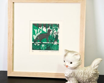 Cat and Cacti- Woodcut Print