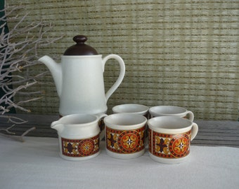 Vintage Sadler Celtic Teapot Set, Retro Tea Set, Orange and Brown