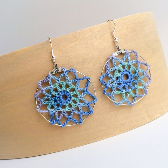 Crochet Lace Doily Hoop Earrings Peacock Color Scheme Dreamcatcher Statement Jewerly Variegated Yarn Ready to Ship
