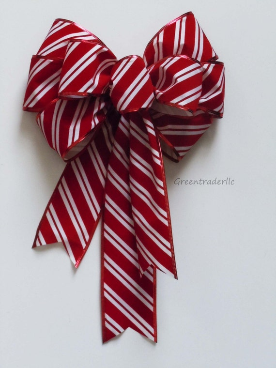Christmas Candy Cane Bow In Outdoor Wreath Mailbox