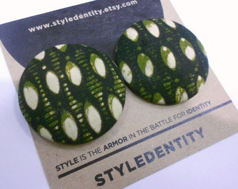 Olive and Black Ankara Button Earrings