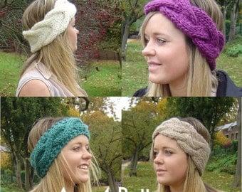 KNITTING PATTERN Bundle 4 Quick Knit Headbands Instant Download Digital Files