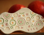 Personalized Ceramic Dish Organic Shaped Ring Dish Colorful Circles  Pastel Pottery