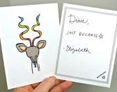 Kudu Note Card Set of 8 - Elle Karel Original Illustration Print & Envelope Recycled Antelope Thank You Spiral Horn Rainbow Stationary Gift