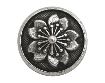 6 Tiny Snowflake Flower 1/2 inch ( 13 mm ) Metal Buttons Antique Silver Color