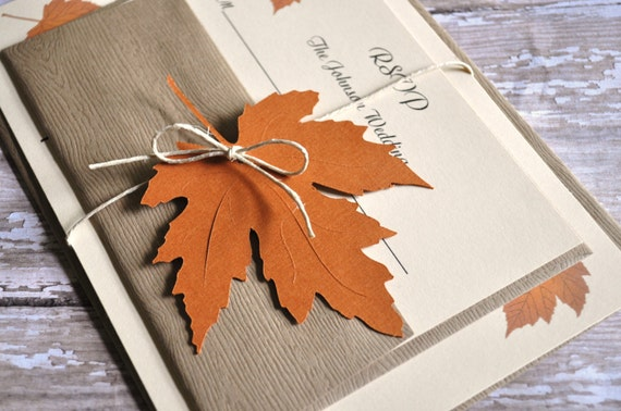 fall wedding invitations autumn wedding by alittlemorerosie, Wedding invitations