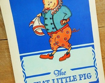 Vintage Neat Little Pig Illustrations from 1930 Gabby Goose Book Set of 2 Pages